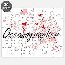 Oceanographer Artistic Job Design with Hear Puzzle