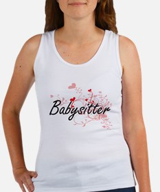 Babysitter Artistic Job Design with Heart Tank Top