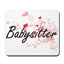 Babysitter Artistic Job Design with Hear Mousepad