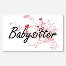 Babysitter Artistic Job Design with Hearts Decal