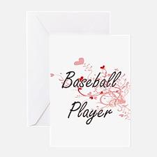 Baseball Player Artistic Job Design Greeting Cards