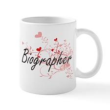 Biographer Artistic Job Design with Hearts Mugs