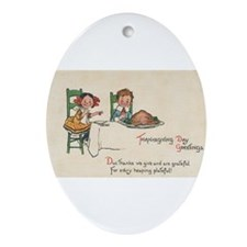 vintage thanksgiving Oval Ornament