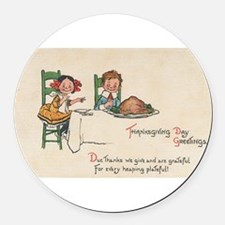 vintage thanksgiving Round Car Magnet