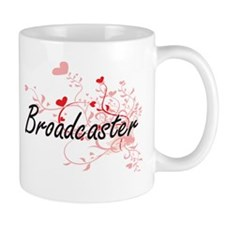 Broadcaster Artistic Job Design with Hearts Mugs