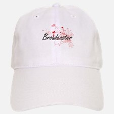 Broadcaster Artistic Job Design with Hearts Baseball Baseball Cap