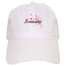 Broadcaster Artistic Job Design with Hearts Baseball Cap