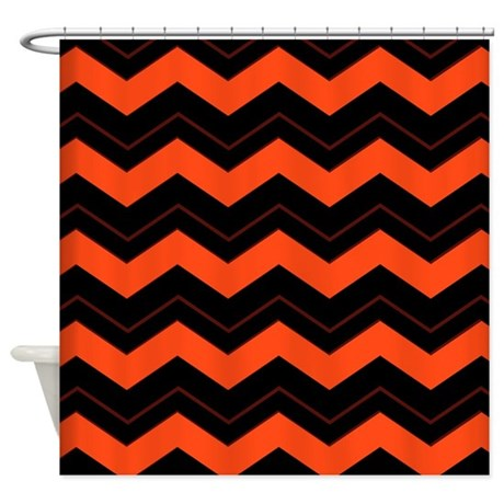 Orange And Black Chevron Shower Curtain By Admin CP11861778