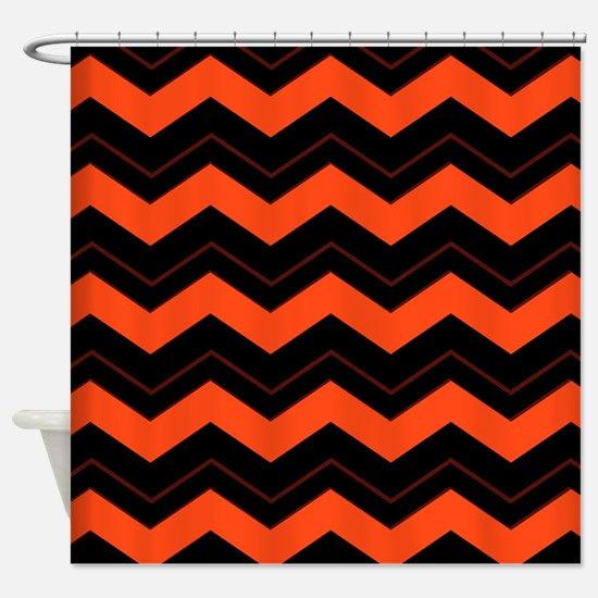 Orange and Black Chevron Shower Curtain And Curtains  CafePress