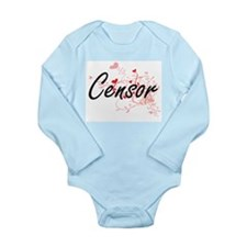 Censor Artistic Job Design with Hearts Body Suit