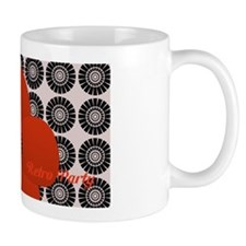 Retro Bright Red Anemone Floral Mugs
