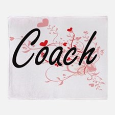 Coach Artistic Job Design with Heart Throw Blanket