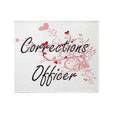 Corrections Officer Artistic Job Des Throw Blanket