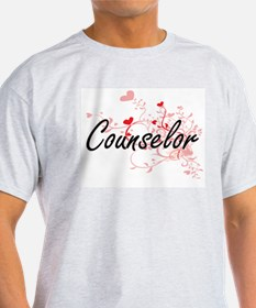 Counselor Artistic Job Design with Hearts T-Shirt