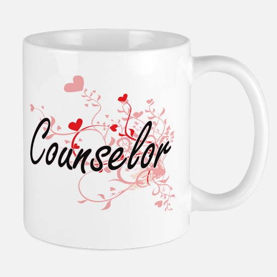 Counselor Artistic Job Design with Hearts Mugs