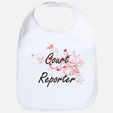 Court Reporter Artistic Job Design with Hearts Bib