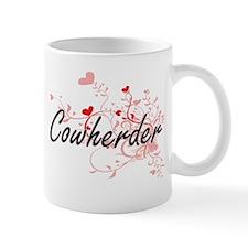 Cowherder Artistic Job Design with Hearts Mugs
