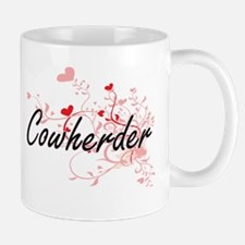 Cowherder Artistic Job Design with Hearts Mugs