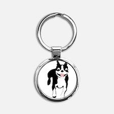 Cute Boston terrier Round Keychain