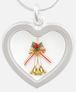 Christmas Bells Silver Heart Necklace