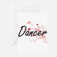 Dancer Artistic Job Design with Hea Greeting Cards