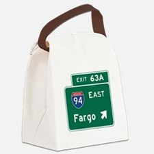 Fargo, ND Road Sign, USA Canvas Lunch Bag