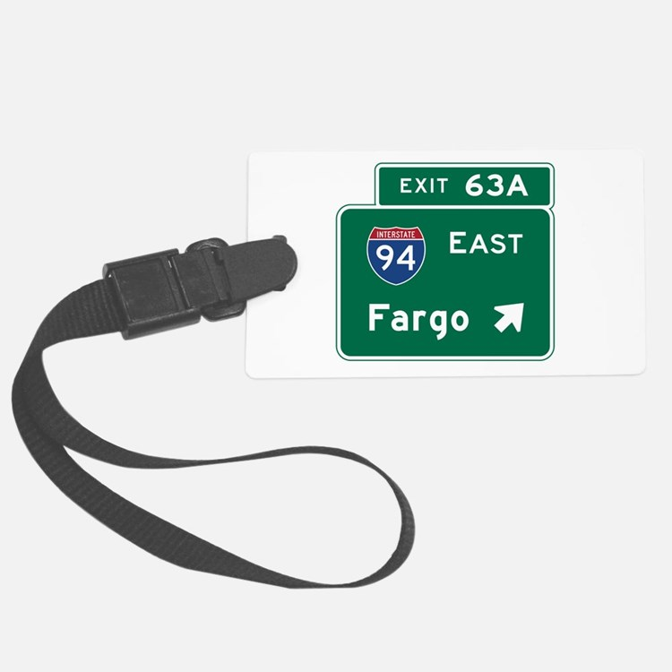 Fargo, ND Road Sign, USA Luggage Tag