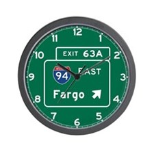 Fargo, ND Road Sign, USA Wall Clock