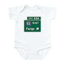 Fargo, ND Road Sign, USA Infant Bodysuit