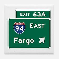 Fargo, ND Road Sign, USA Tile Coaster