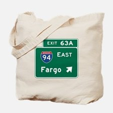 Fargo, ND Road Sign, USA Tote Bag