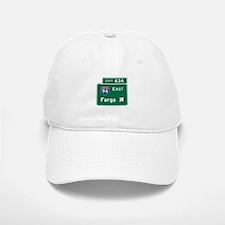 Fargo, ND Road Sign, USA Baseball Baseball Cap