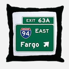 Fargo, ND Road Sign, USA Throw Pillow