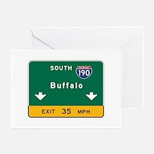 Buffalo, NY Road Sign, U Greeting Cards (Pk of 10)