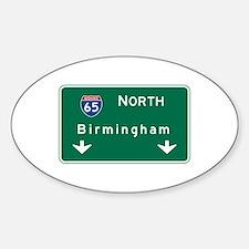 Birmingham, AL Road Sign, USA Sticker (Oval)