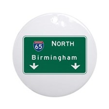 Birmingham, AL Road Sign, USA Round Ornament
