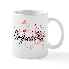 Drywaller Artistic Job Design with Hearts Mugs