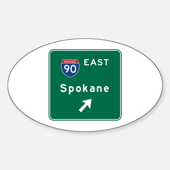 Spokane, WA Road Sign, USA Sticker (Oval)