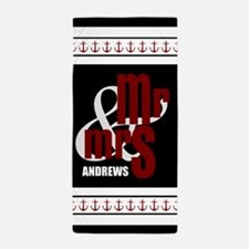 Black and Red Anchors Mr and Mrs Beach Towel