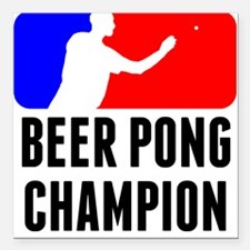 """Beer Pong Champion Square Car Magnet 3"""" x 3"""""""