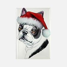 Boston Terrier Santa Rectangle Magnet