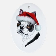 Boston Terrier Santa Oval Ornament