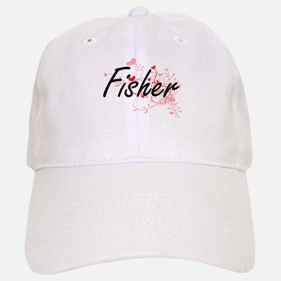 Fisher Artistic Job Design with Hearts Baseball Baseball Cap