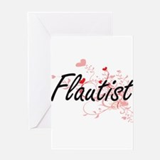 Flautist Artistic Job Design with H Greeting Cards