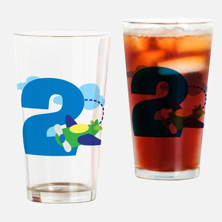 2nd Birthday Airplane Pilot Drinking Glass