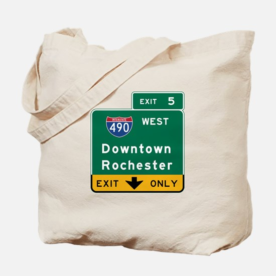 Rochester, NY Road Sign, USA Tote Bag