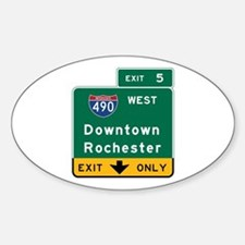 Rochester, NY Road Sign, USA Sticker (Oval)