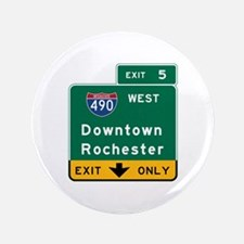 Rochester, NY Road Sign, USA Button