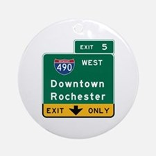 Rochester, NY Road Sign, USA Round Ornament
