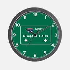Niagara Falls, NY Road Sign, USA Wall Clock